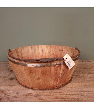 A016 - houten emmer met handvat - 41 x 41 x 16 cm