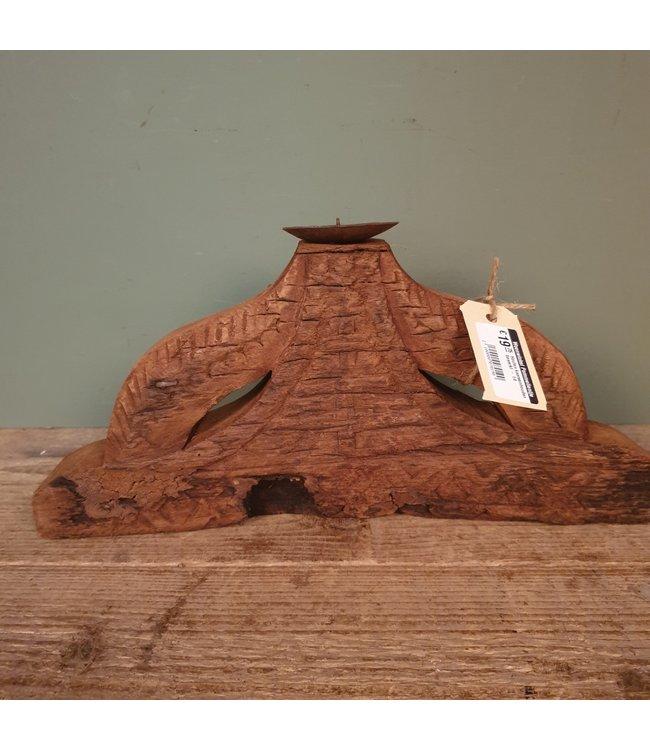 # Houten kaarsenhouder bewerkt - 14 - 37 x 6 x 17 cm