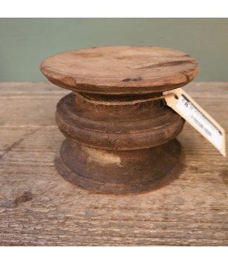 Klos kandelaar hout - 14 - 12 x 12 x 9 cm
