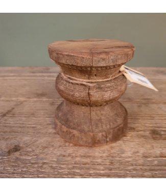 Klos kandelaar hout - 15 - 9 x 9 x 10 cm