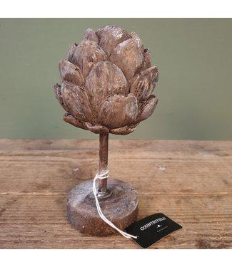 # Ornament artisjok Davor S grijs - polystone - L9,5B9,5H18CM