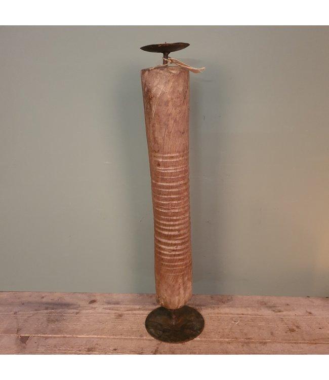 # Houten kandelaar op voet - 1 - 15 x 15 x 66 cm
