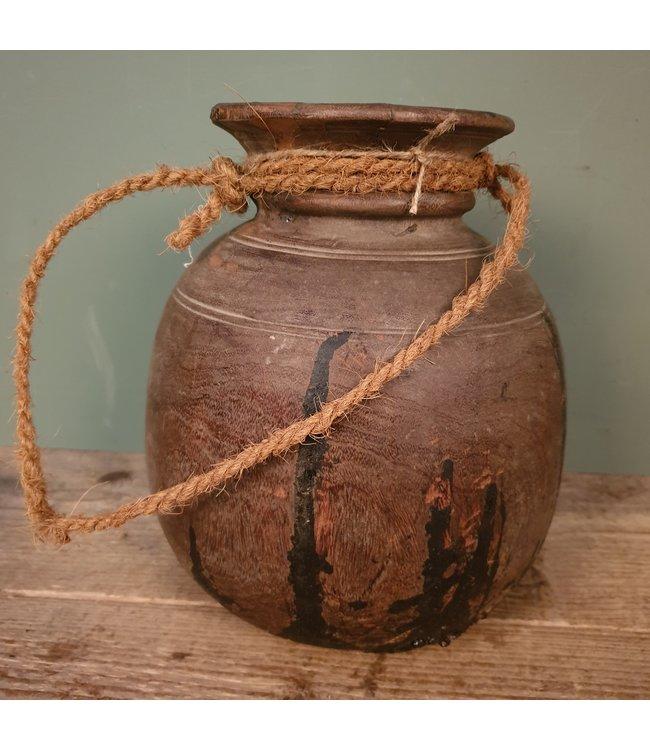 Nepalese houten bolpot - 15 - 22 x 22 x 27 cm