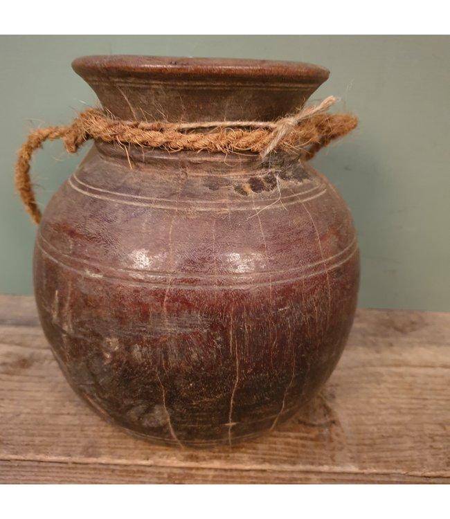 # Nepalese houten bolpot - 18 - 18 x 18 x 20 cm