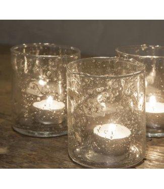 ( Waxine glas Isa - 8 x 8 x 10 cm - per stuk - wordt niet verzonden/alleen afhalen