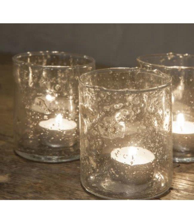 *Waxine glas Isa - 8 x 8 x 10 cm - per stuk