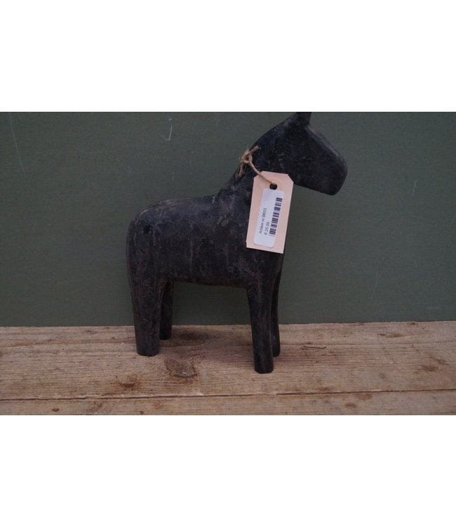 *houten paard large black finish
