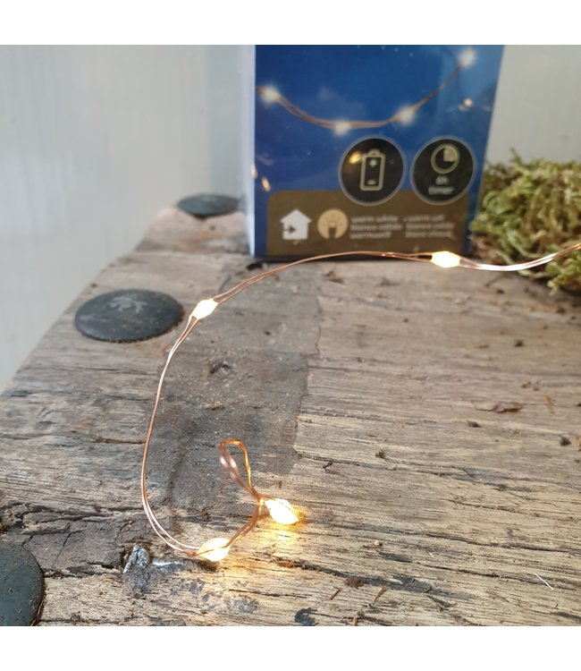 # Q646 - 20ledlamp - 95cm koperdraad - warm wit - 6uur timer