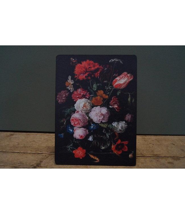 # B737 - Afbeelding op hardboard - zwart met bloemen - en slak onderin