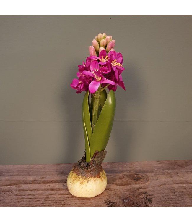 Bloembol - hyacint - kunst - fuchsia - 6 x 6 x 20cm