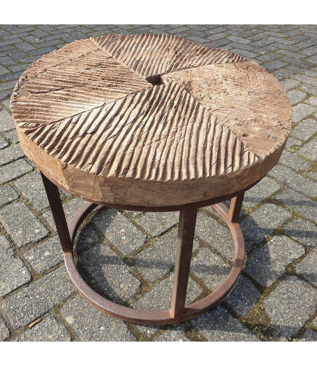 Ronde salontafel maalblok 6 - 57 x 57 x 50 cm - alleen afhalen-wordt niet verzonden