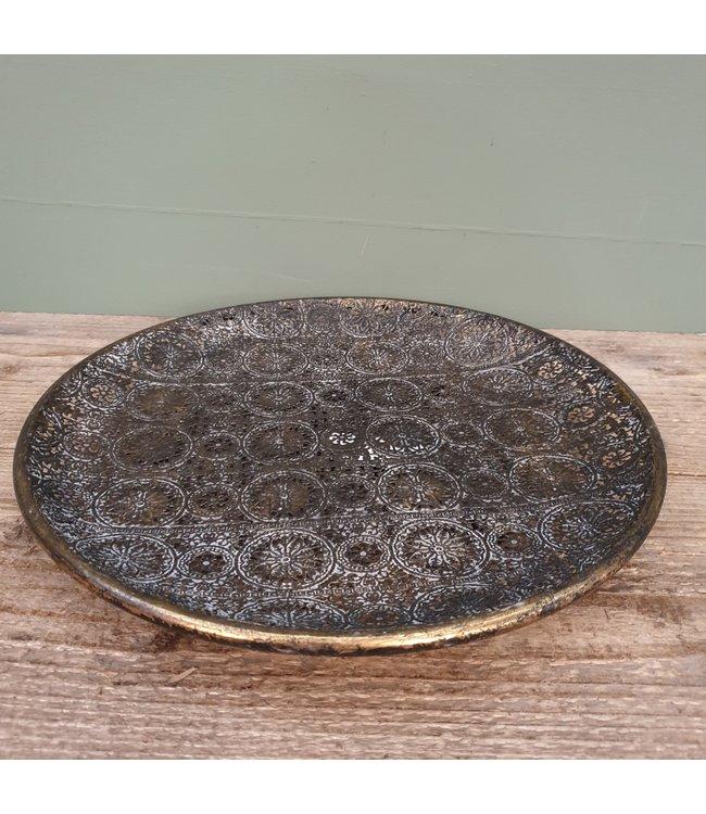 # I885 - dienblad - schaal - metaal - 30 x 30 x 3,5 cm