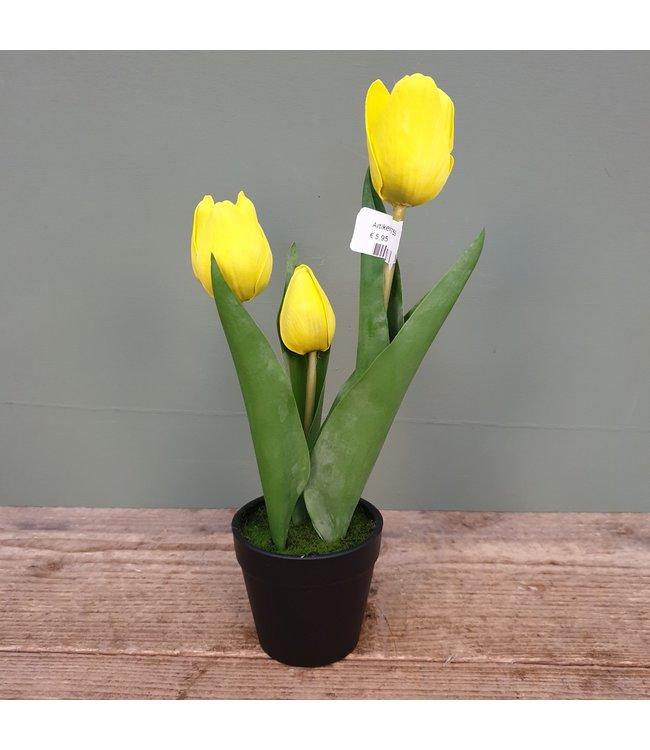 ( J759 - Tulpen in pot - kunst - geel - 8 x 8 x 29 cm
