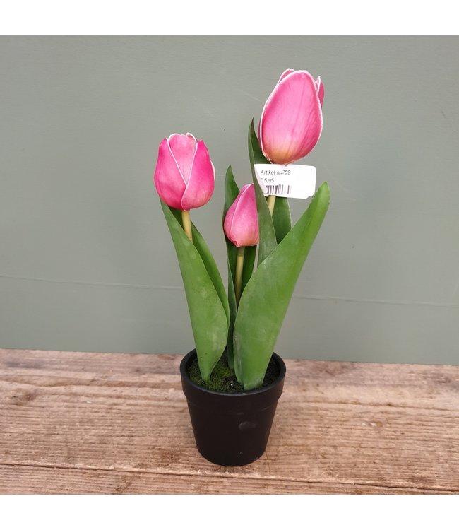 # J759 - Tulpen in pot - kunst - roze - 8 x 8 x 29 cm
