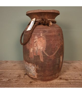 # Himachal pot old with rope -1 - 22 x 22 x 36 cm