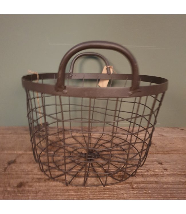 Basket ovaal - metaal  - groot - 32 x 32 x 27 cm
