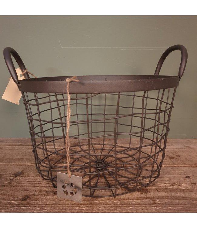 Basket ovaal - metaal  - midden - 29 x 29 x 24 cm