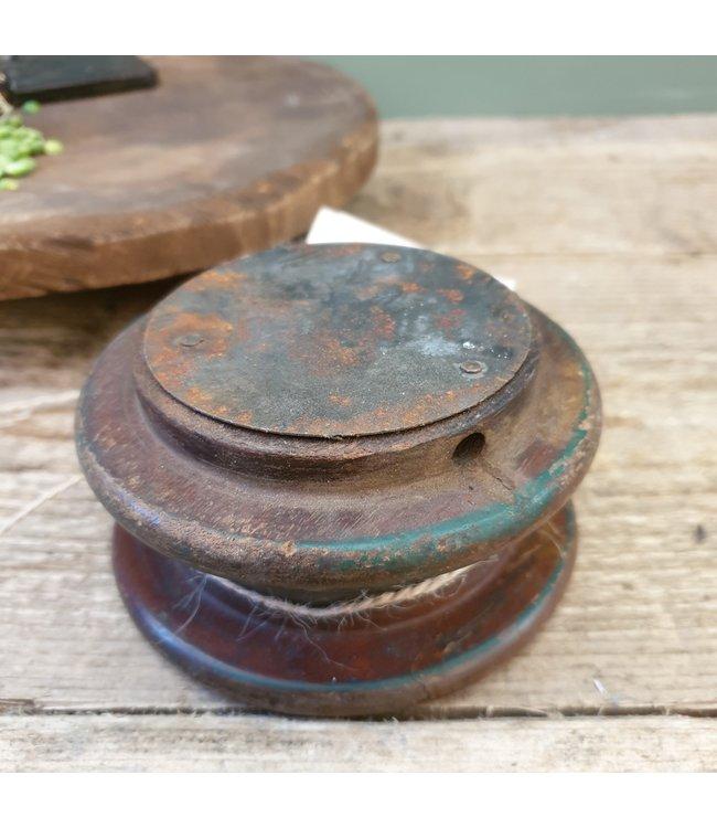 """# Vintage wooden candleholder """"Bobbin"""" - 13 x 6 cm"""