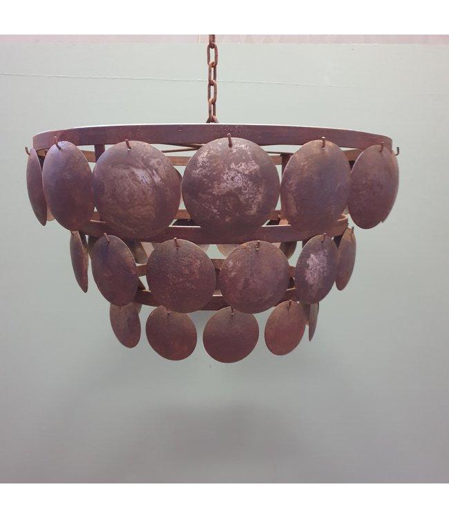 Lampenkap - schijfjeslamp - 40 cm doorsnede - metaal/roest
