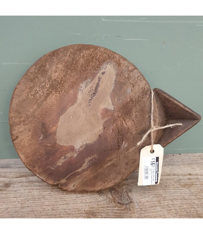 # Vintage home used wooden chapati plate with ear - 3