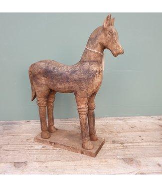 # Houtsnijwerkpaard - 5 - 41 x 10 x 48 cm