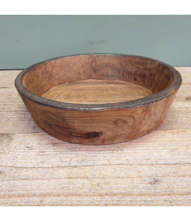 bowl wood/iron - 28 x 28 x 8 cm