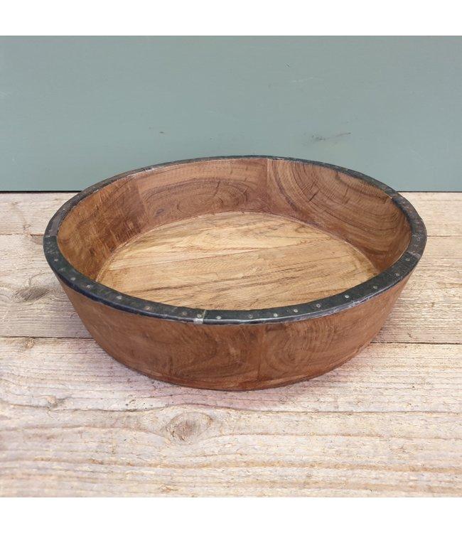 # bowl wood/iron 33 x 33 x 9 cm