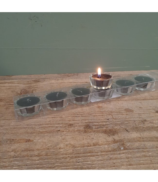 # Doosje met 7 kaarsjes in glas - 5 x 5 x 2 cm