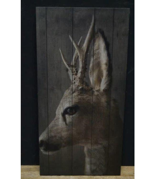 # J298 - afbeelding op hout - hert - 15 x 30 cm