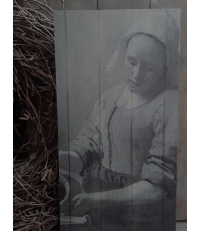 # A058 - afbeelding op hout - melkmeisje - 15 x 30 cm