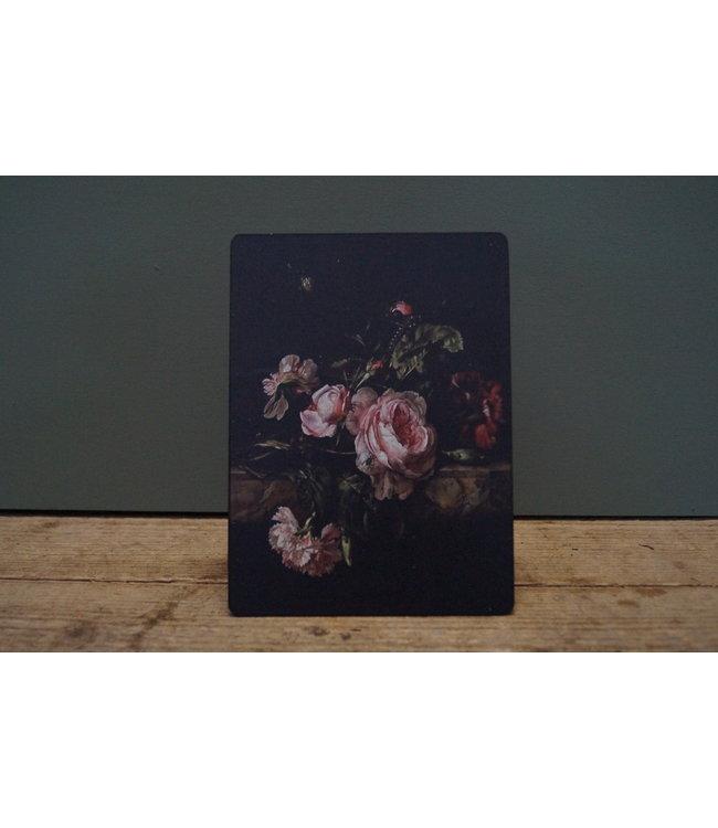 # B815 - Afbeelding op hardboard - zwart met bloemen - roze anjer beneden