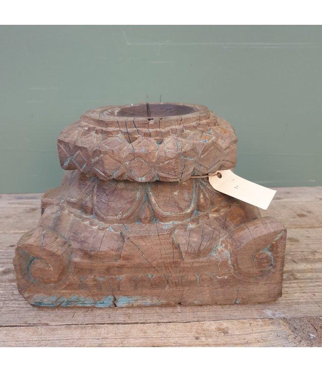 # Houten Poer - 2 - 25,5 x 24 x 21 cm