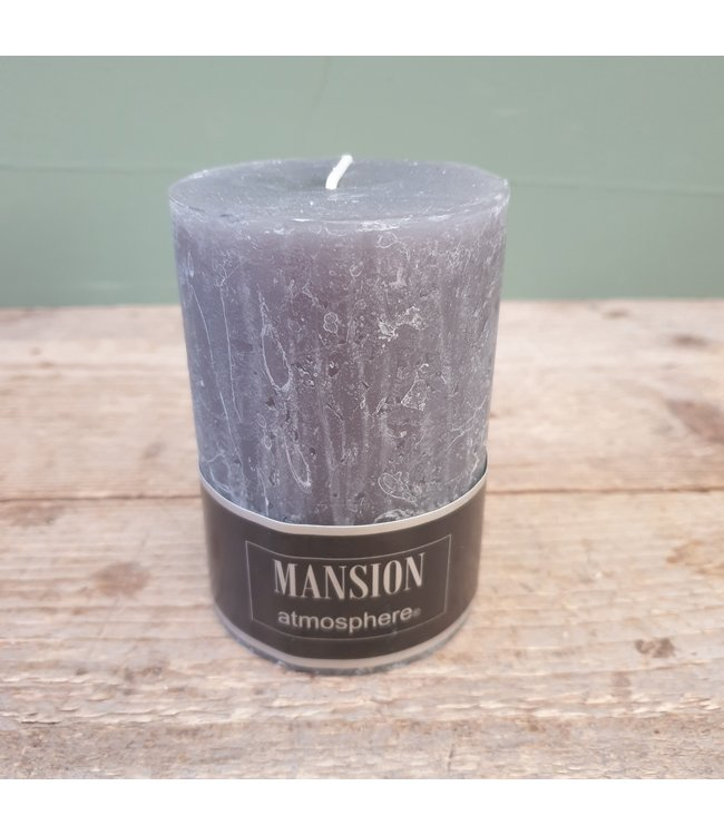 # q521 - candle 70/100 pewter rustic - 7 x 7 x 10 cm