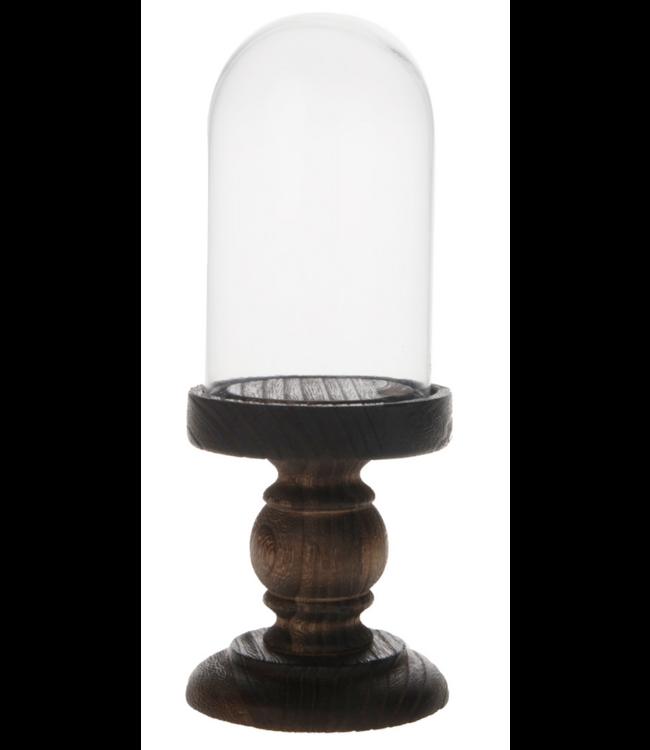 # Bell with pedestal glass / wood Ø12x28cm - Brown