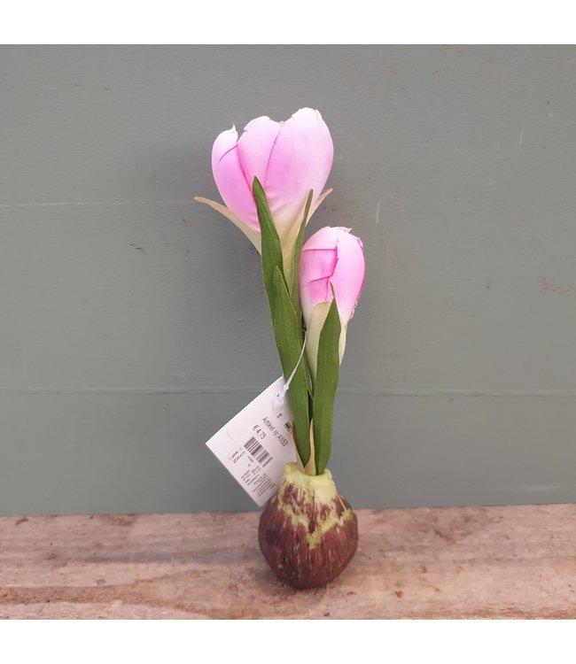 NT!!! - A553 - Krokus - zachtroze - kunst/zijde bloem en bol van polystone - 24,5 x 6 x 21 cm per stuk