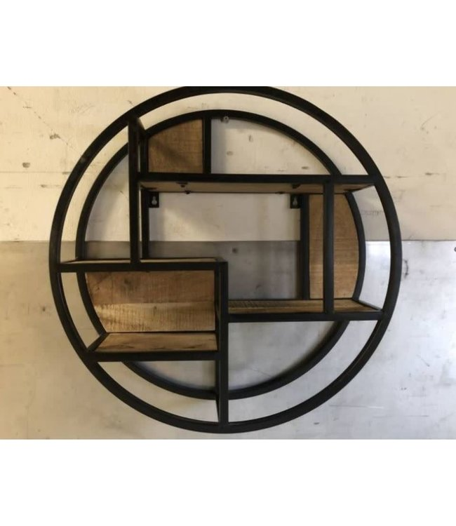 # J744 - Zwart metalen wandrek cirkel - 60 cm