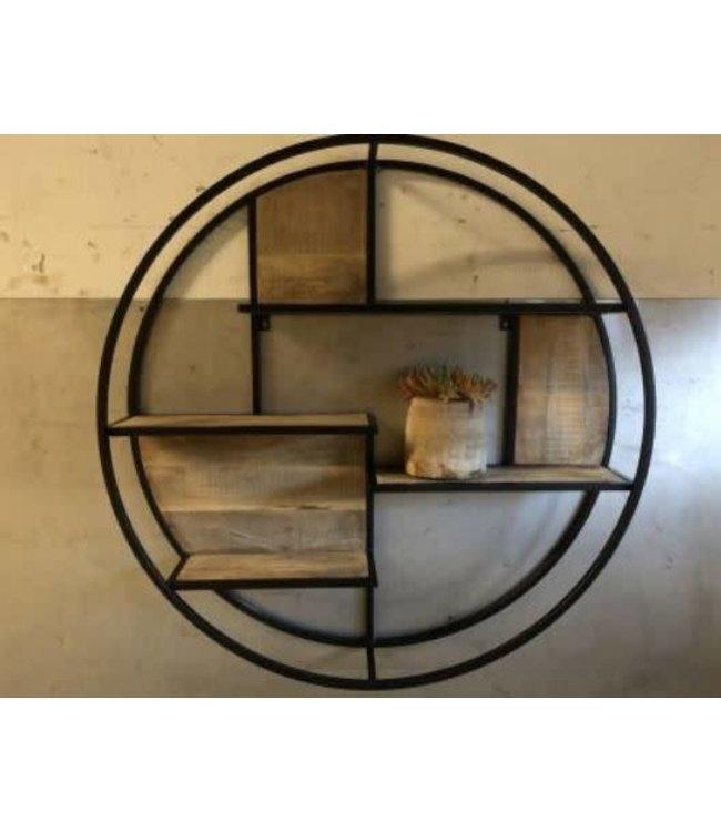 NT!!!!*J573 - Zwart metalen wandrek cirkel - 100 cm (wordt niet verzonden/alleen afhalen)