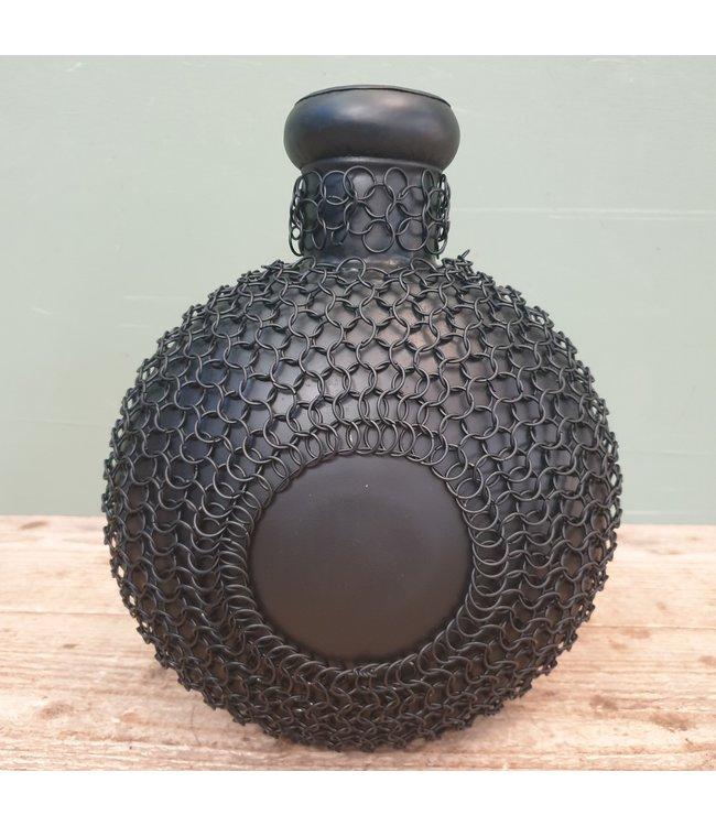 # Zwart metalen vaas met draad - 24 x 20 x 31 cm