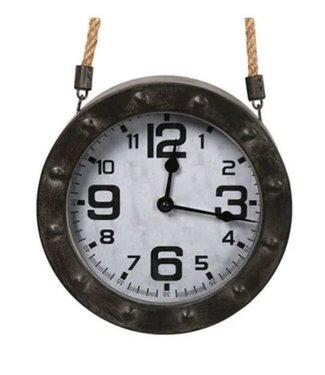 # J084 - Clock rd Hellon d.grey(1xAA excl) - L20B5,8H20CM