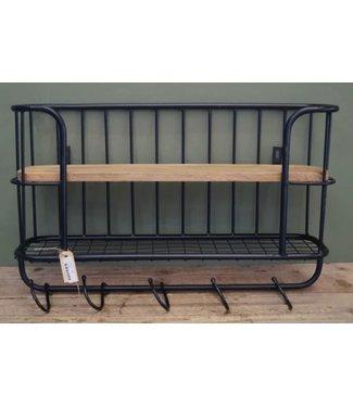 # J800 - Bakkersrek - wandrek - zwartmetaal - hout - 66 x 17 x 44 cm