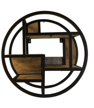 # J743 - Zwart metalen wandrek cirkel - 48 cm
