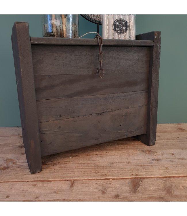 # Zwarte houten kist - 2 - 52 x 30 x 45 cm