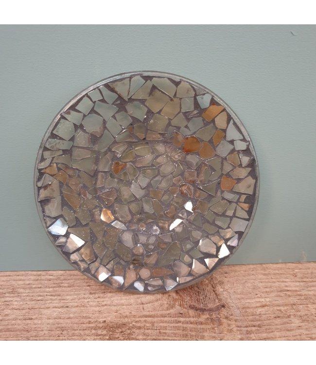 Schotel - glas - mozaiek - 14 x 14 x 2 cm