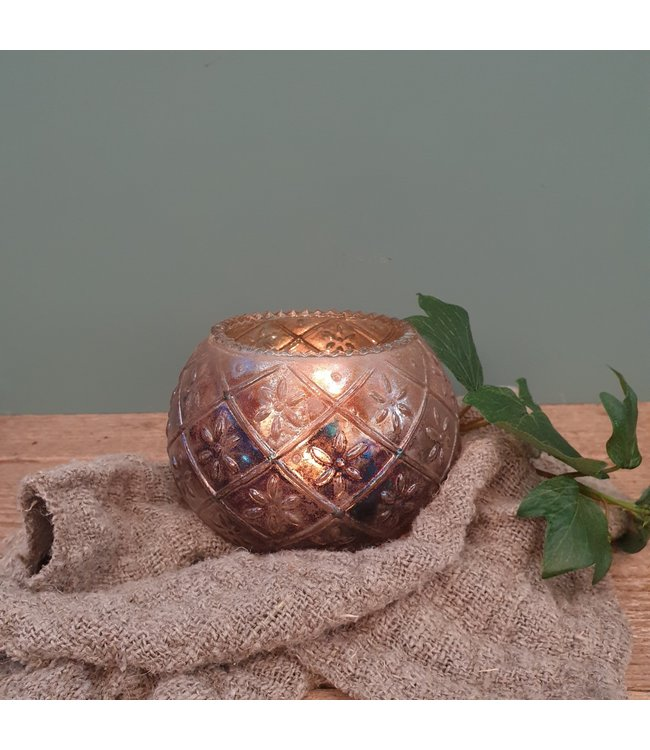Waxinelicht - glas - 13 x 13 x 11 cm