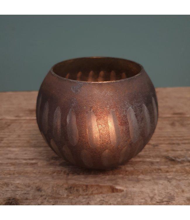 T light round M cutwork streep - 10 x10 x 8 cm - waxine