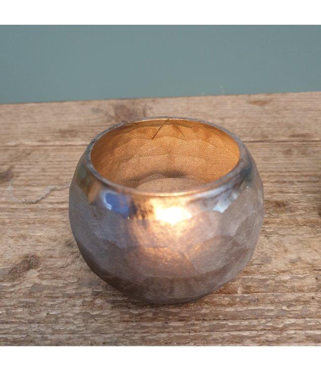 T light round S cutwork honeyc - 8 x 8 x 6 cm - waxine - per stuk