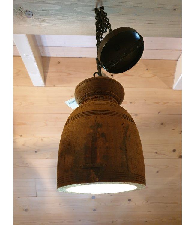 # A027 - Hanglamp - nepalese houten kruik - ca. 15 x 15 x 22 cm