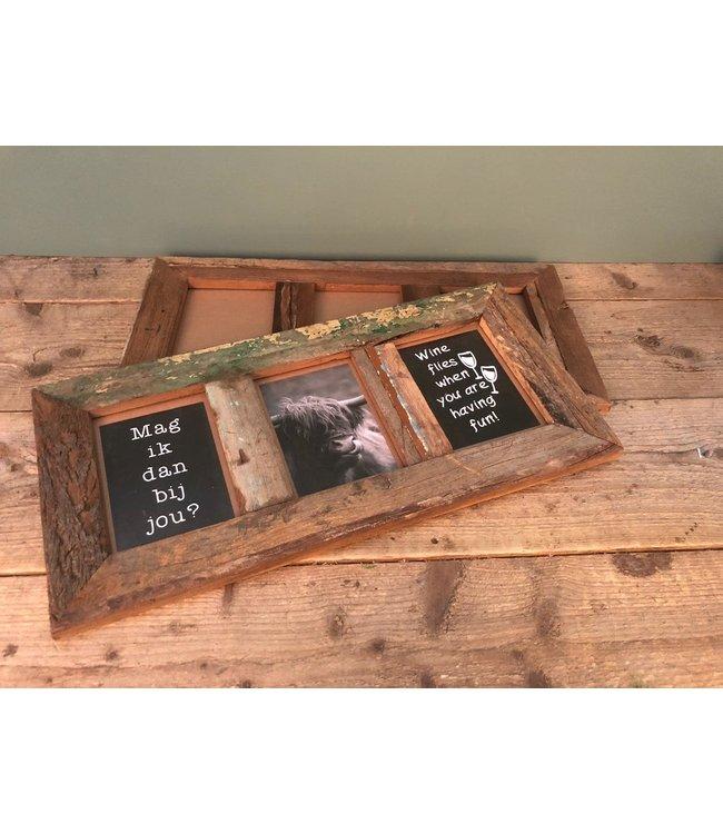 Resto wood photoframe triple - 55 x 2 x 27 cm - binnenkant 10 x 15 cm