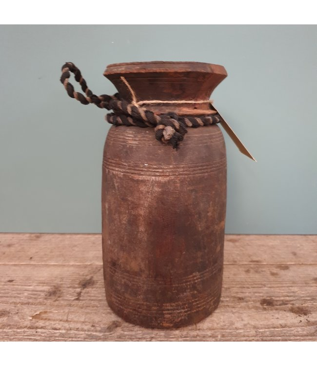 Nepalese houten vaas -- 2 - 13 x 13 x 25 cm