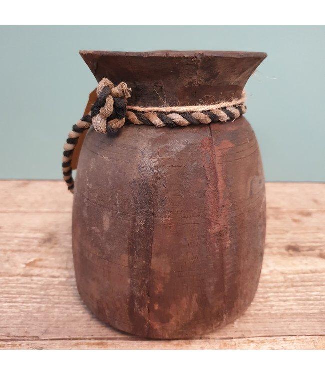 Nepalese houten vaas - 12 - 15 x 15 x 18 cm